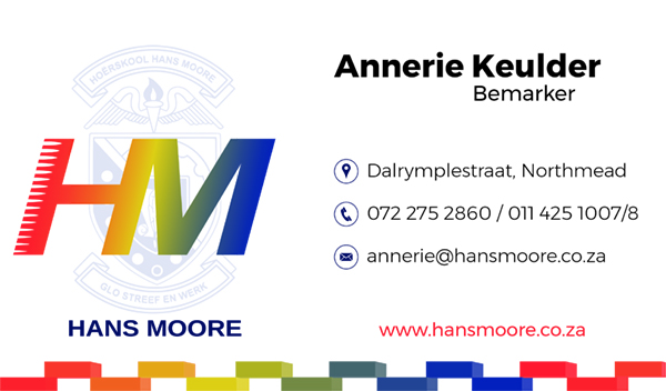 Business Cards for Hans Moore High School